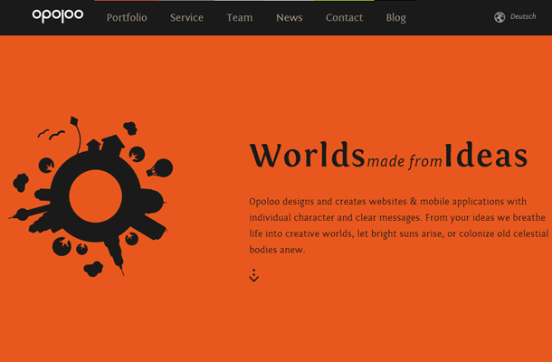 flat orange website ui layout design