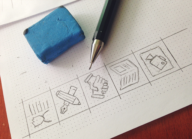 personal web icon set design sketches