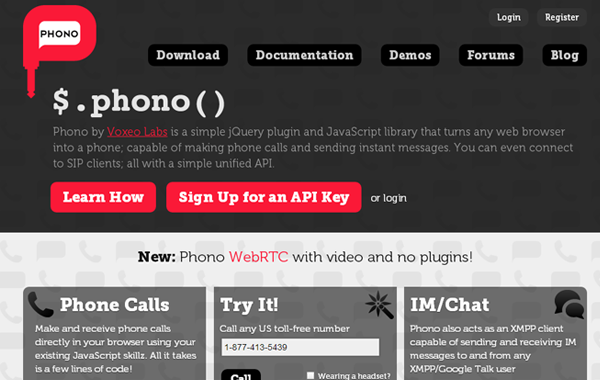 xmpp framework send sms texts chat phono jquery plugin
