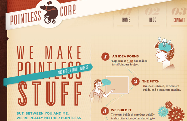 pointless corp corporation layout brown website
