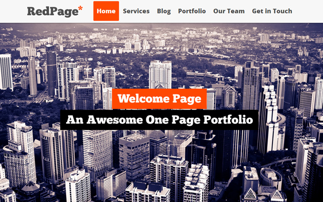 red page creative responsive one page template html5