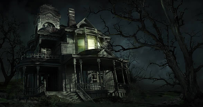 sinister haunted house composite