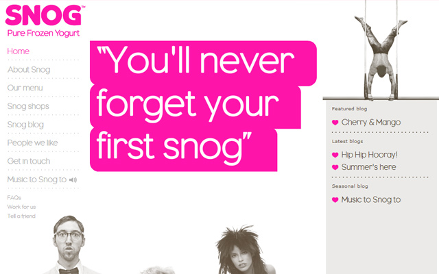 snog pure frozen yogurt website design inspiring pink layout