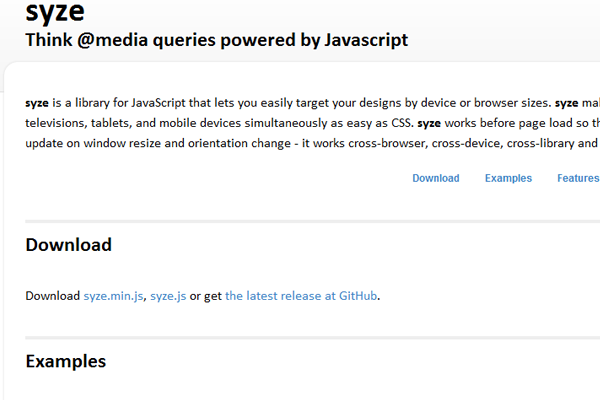 Open source @media queries for JavaScript code