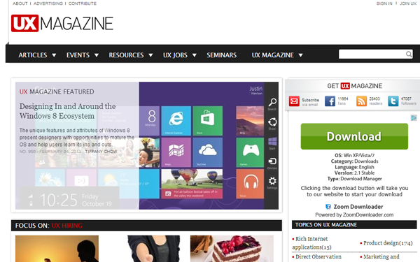 user experience magazine website interface layout