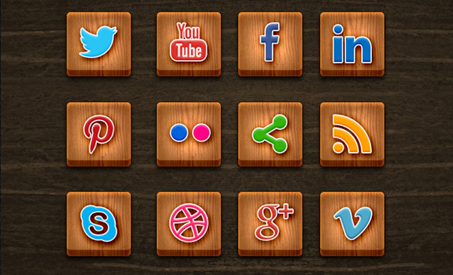 wood texture social media icons