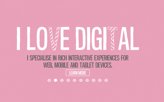 adam hartwig homepage pink design animated typography