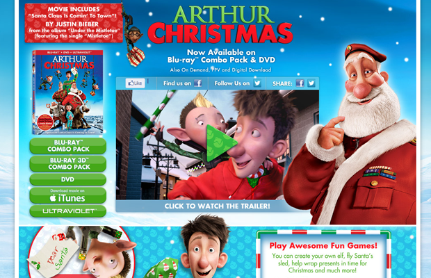 arthur christmas holiday movie website