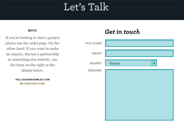 awesome.js website layout contact form designs