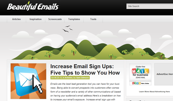 Beautiful website e-mails design