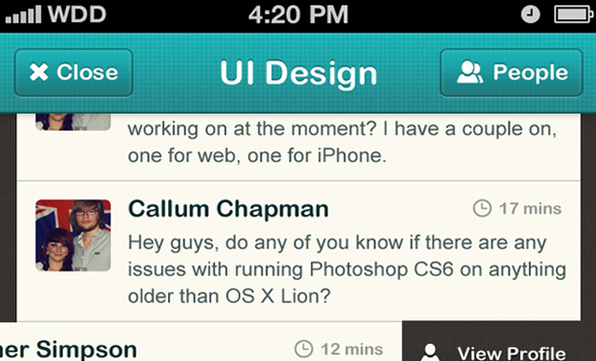 mobile app iphone ui chat messaging