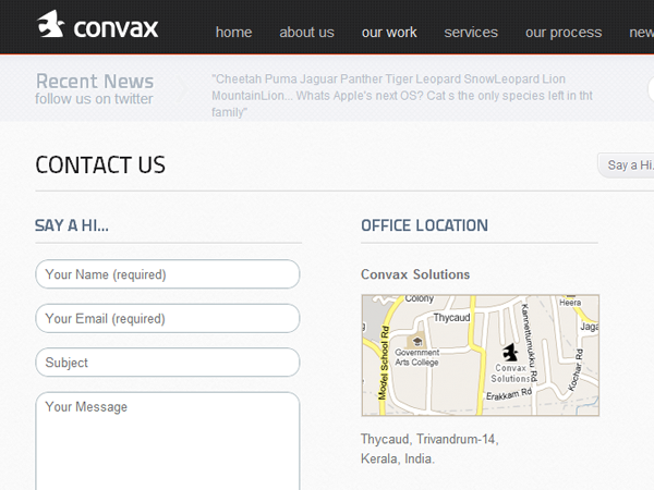 Convax website layout contact form design