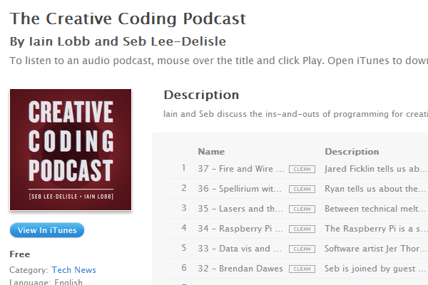 the creative coding podcast shows itunes
