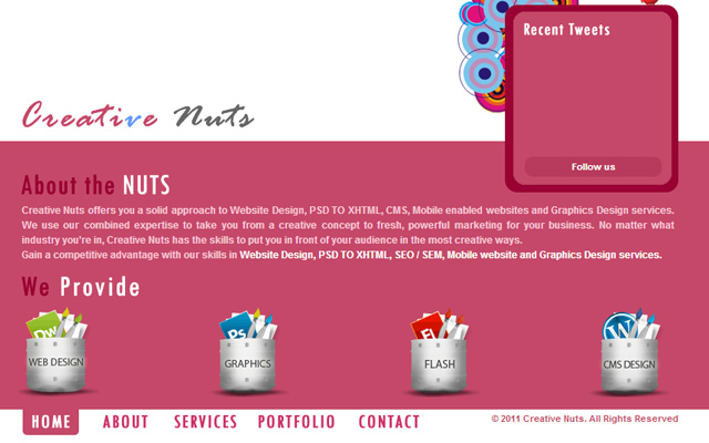 creative design agency nuts homepage layout ajax content