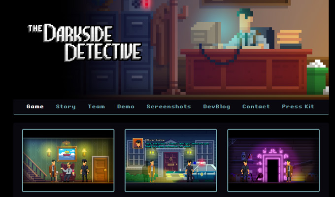 darkside detective website homepage