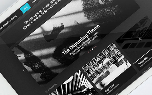 depending theme psd template freebie