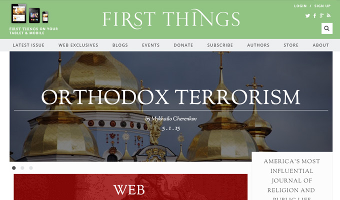 first things magazine website homepage