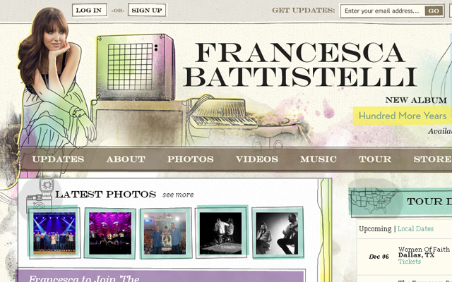 francesca battistelli musician personal illustration website layout homepage