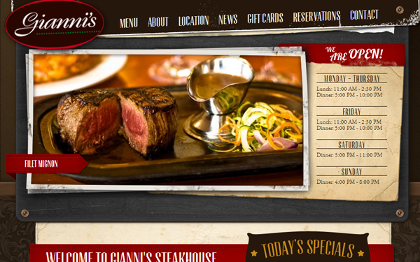 steakhouse web design inspiring layout