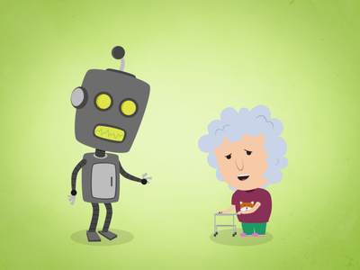 illustrated vector icons elements robot grandma lady