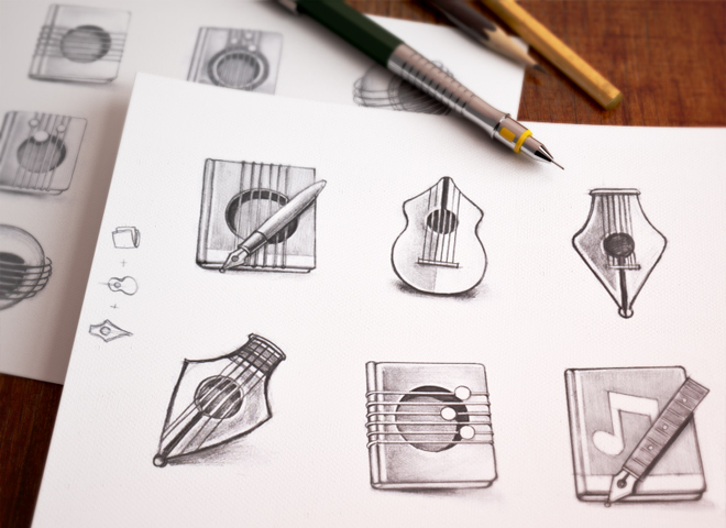 music mac app icons design sketches