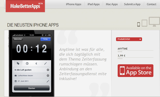make better apps homepage layout design