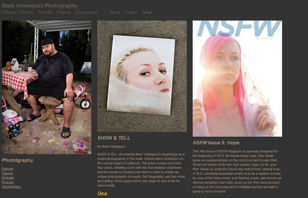 website photography layout of mark velasquez