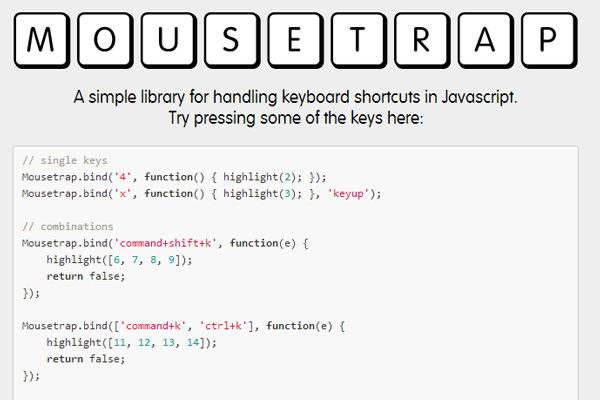 jquery plugin keyboard shortcuts library mousetrap