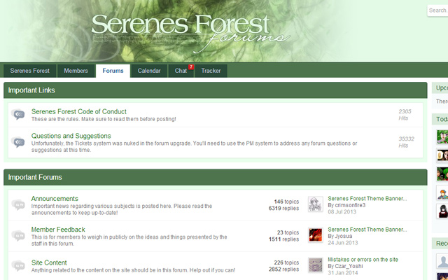 sernes forest forums green interface