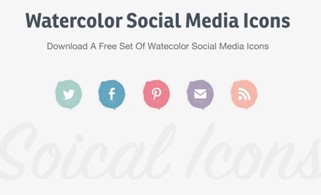 watercolor social media icons design