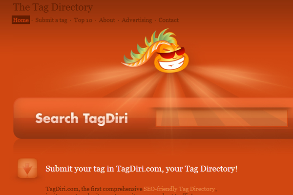 Tags search directory listing website webapp orange layout
