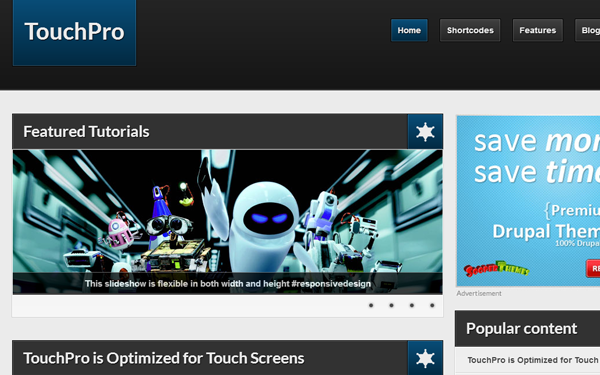 touchpro website drupal freebie theme preview