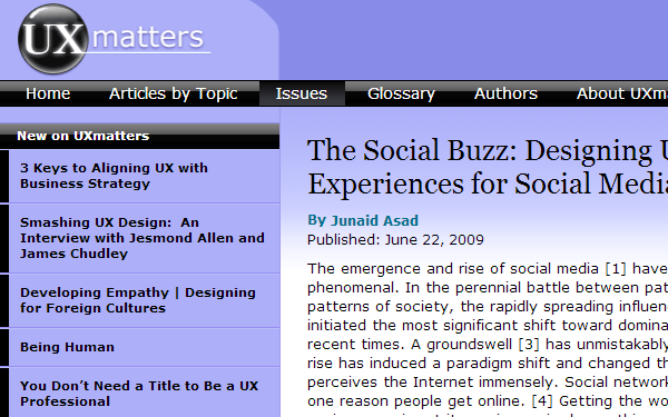 UX matters and articles for resources