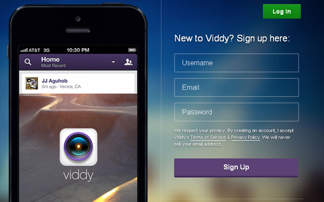 viddy iphone app website registration account design