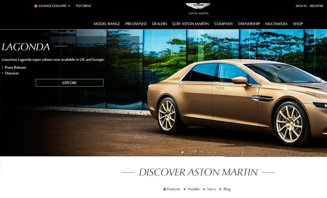 aston martin website homepage design