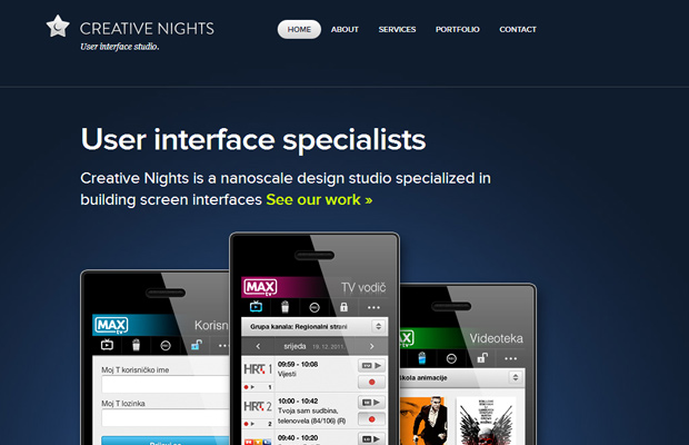 creative nights dark blue website layout