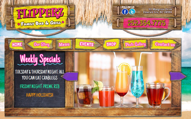 flipperz family bar grill website restaurant design