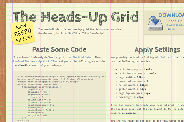 Website Texture for heads-Up Grid design