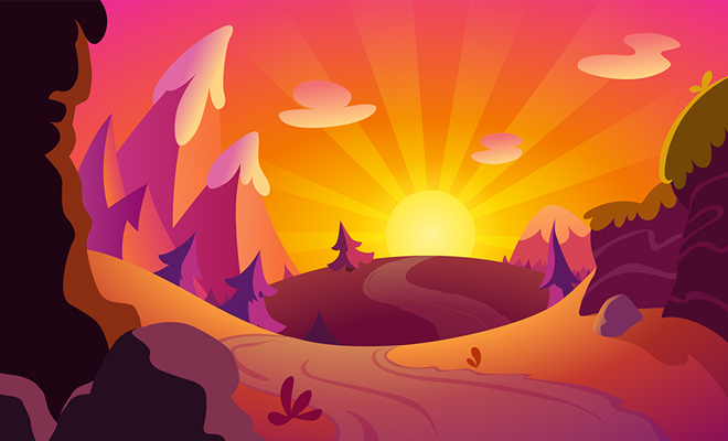 background vector sunset orange