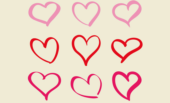 hand drawn hearts icons freebies set
