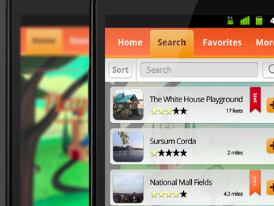 orange Android app user interface design