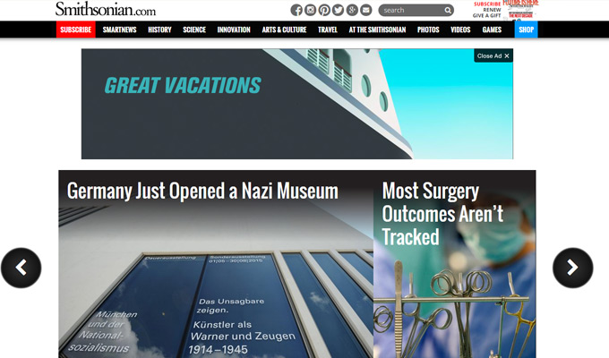 smithsonian magazine website homepage
