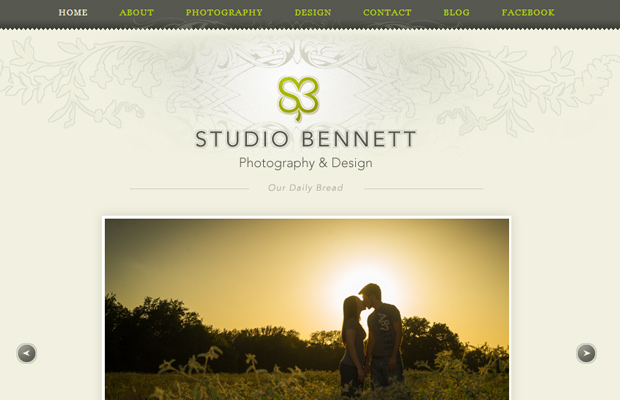 studio bennett website layout photography portfolio