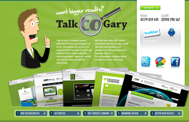 green seo website layout talktogary inspiration