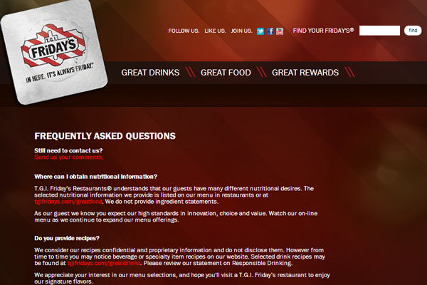 TGI Friday's restaurant website layout ecommerce