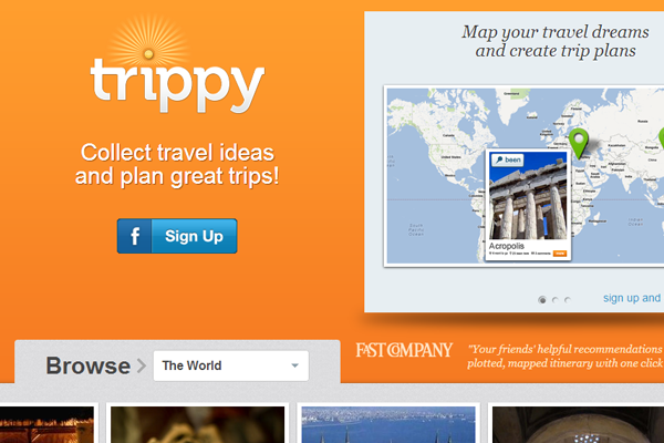 Trippy social network travel homepage layout