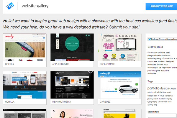 css3 inspiration gallery showcase websites