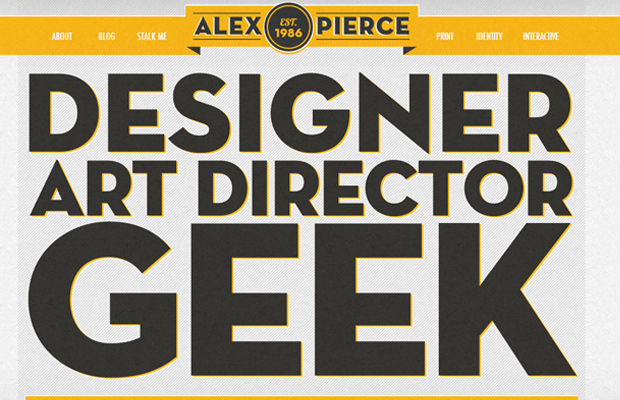 alex pierce the geek designer homepage portfolio
