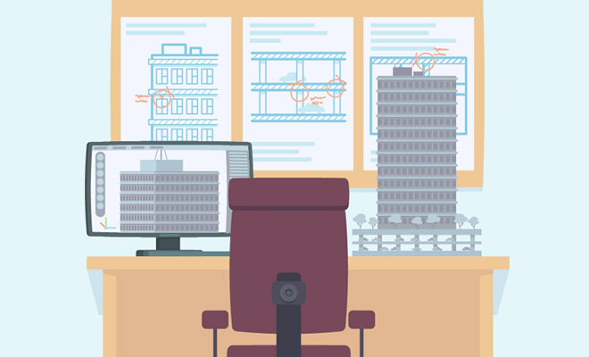 architect workspace design vector