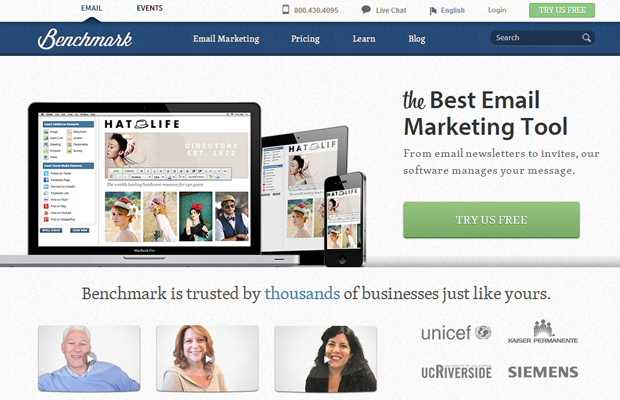 benchmark email landing service homepage